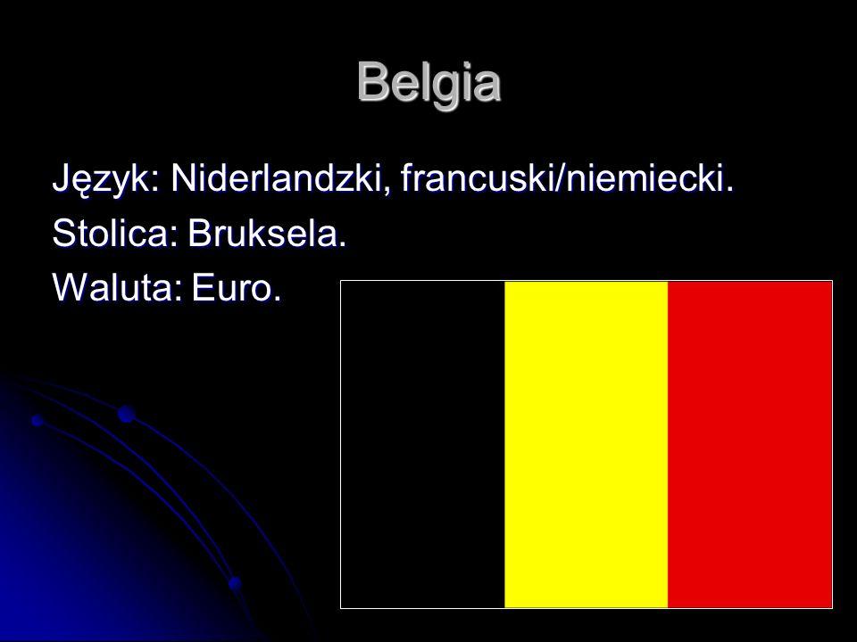 Belgia Język: Niderlandzki, francuski/niemiecki. Stolica: Bruksela. Waluta: Euro.