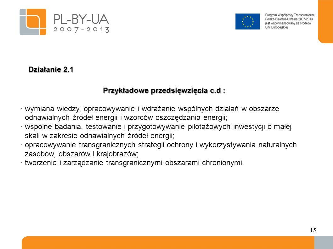 15 Przykładowe przedsięwzięcia c.d : · wymiana wiedzy, opracowywanie i wdrażanie wspólnych działań w obszarze odnawialnych źródeł energii i wzorców oszczędzania energii; · wspólne badania, testowanie i przygotowywanie pilotażowych inwestycji o małej skali w zakresie odnawialnych źródeł energii; · opracowywanie transgranicznych strategii ochrony i wykorzystywania naturalnych zasobów, obszarów i krajobrazów; · tworzenie i zarządzanie transgranicznymi obszarami chronionymi.