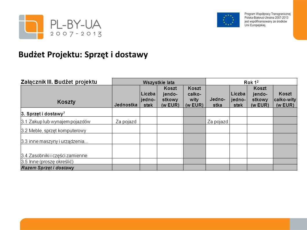 Budżet Projektu: Sprzęt i dostawy Załącznik III. Budżet projektu Wszystkie lataRok 1 2 Koszty Jednostka Liczba jedno- stek Koszt jendo- stkowy (w EUR)