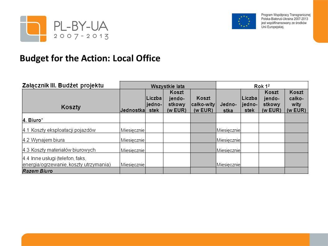 Budget for the Action: Local Office Załącznik III. Budżet projektu Wszystkie lataRok 1 2 Koszty Jednostka Liczba jedno- stek Koszt jendo- stkowy (w EU