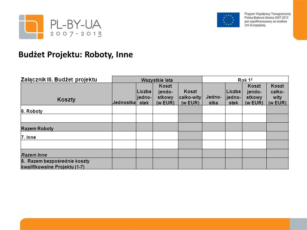 Budżet Projektu: Roboty, Inne Załącznik III. Budżet projektu Wszystkie lataRok 1 2 Koszty Jednostka Liczba jedno- stek Koszt jendo- stkowy (w EUR) Kos