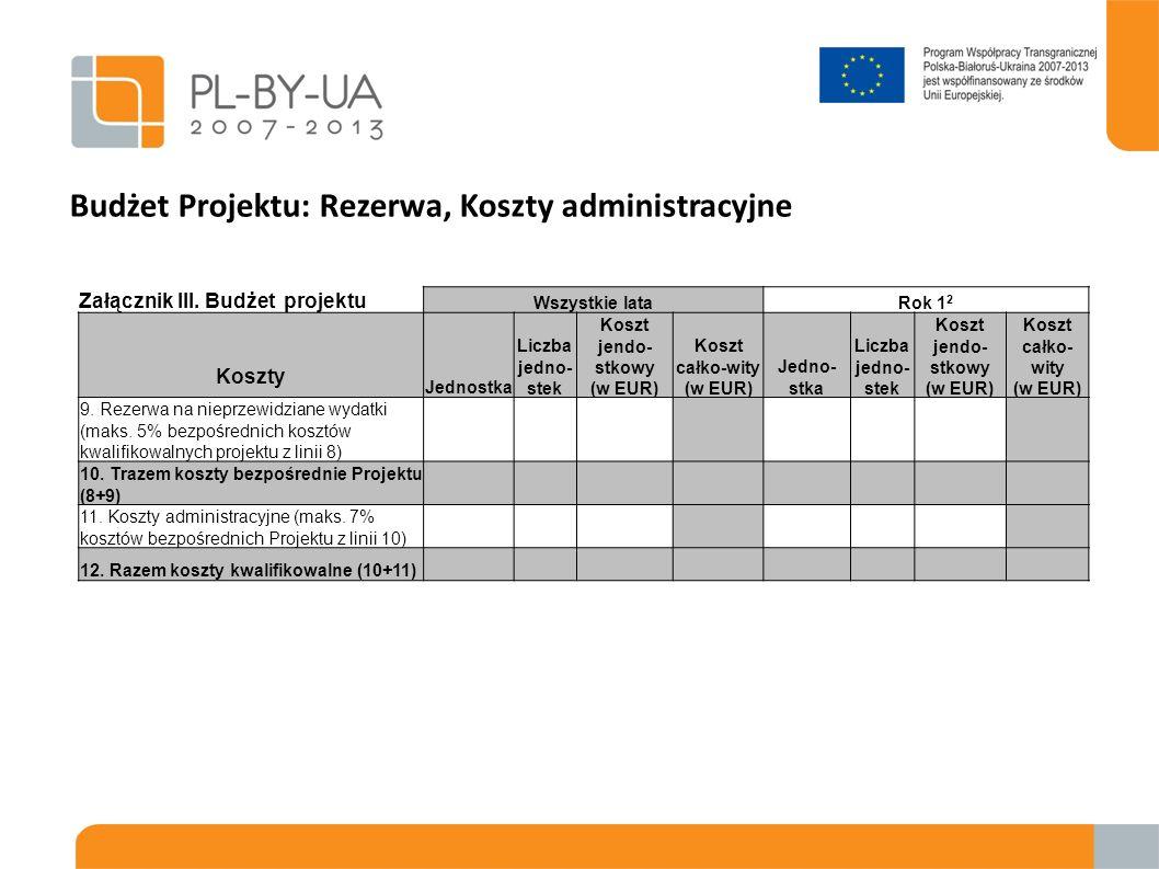Budżet Projektu: Rezerwa, Koszty administracyjne Załącznik III. Budżet projektu Wszystkie lataRok 1 2 Koszty Jednostka Liczba jedno- stek Koszt jendo-