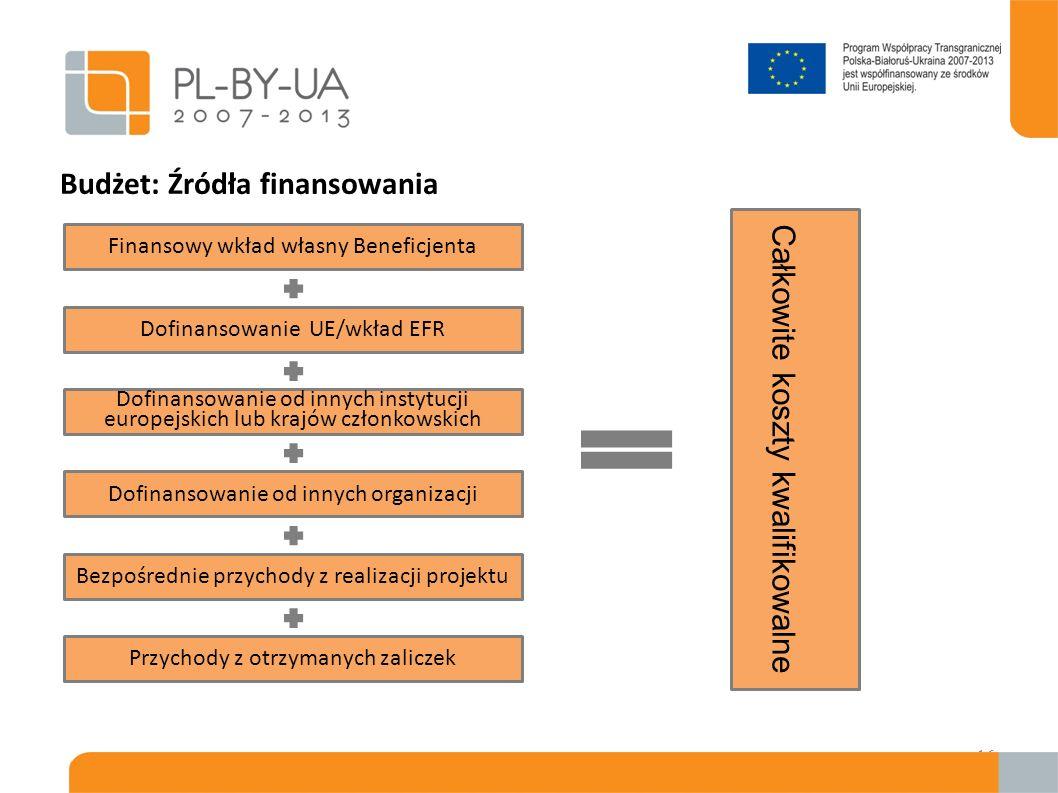 Budżet: Źródła finansowania 16 Finansowy wkład własny Beneficjenta Dofinansowanie UE/wkład EFR Dofinansowanie od innych instytucji europejskich lub kr
