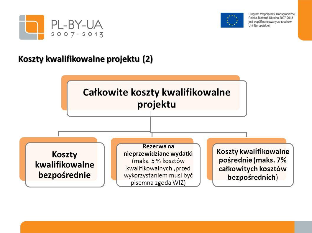 Koszty kwalifikowalne projektu (2) Całkowite koszty kwalifikowalne projektu Koszty kwalifikowalne bezpośrednie Rezerwa na nieprzewidziane wydatki (mak