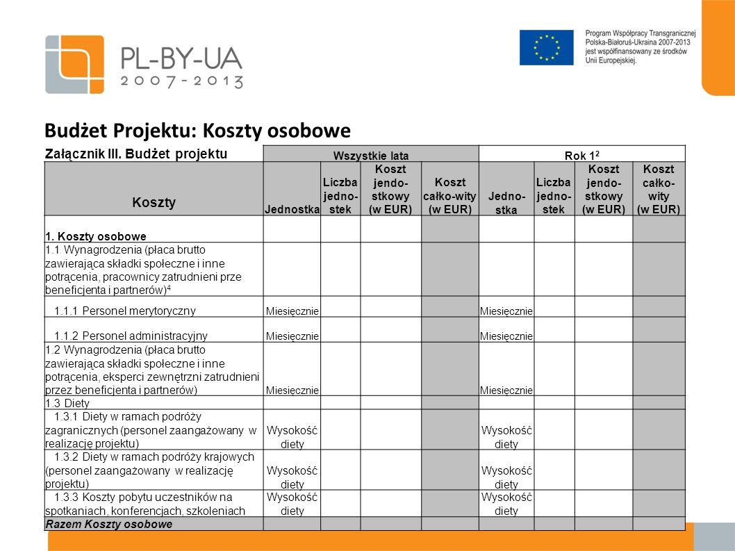 Budżet Projektu: Koszty osobowe Załącznik III. Budżet projektu Wszystkie lataRok 1 2 Koszty Jednostka Liczba jedno- stek Koszt jendo- stkowy (w EUR) K