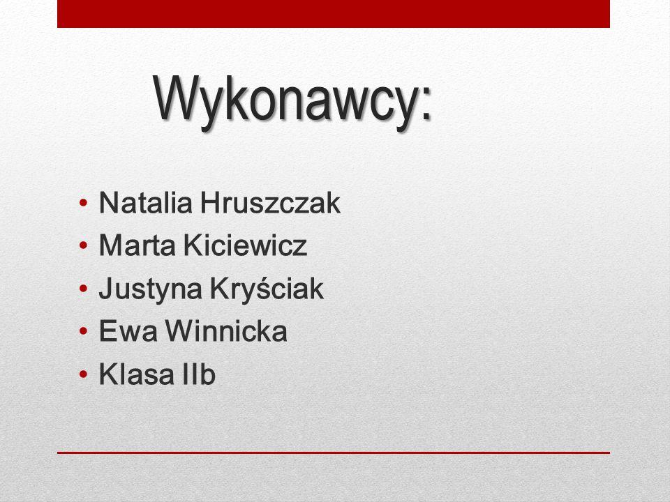 Wykonawcy: Natalia Hruszczak Marta Kiciewicz Justyna Kryściak Ewa Winnicka Klasa IIb