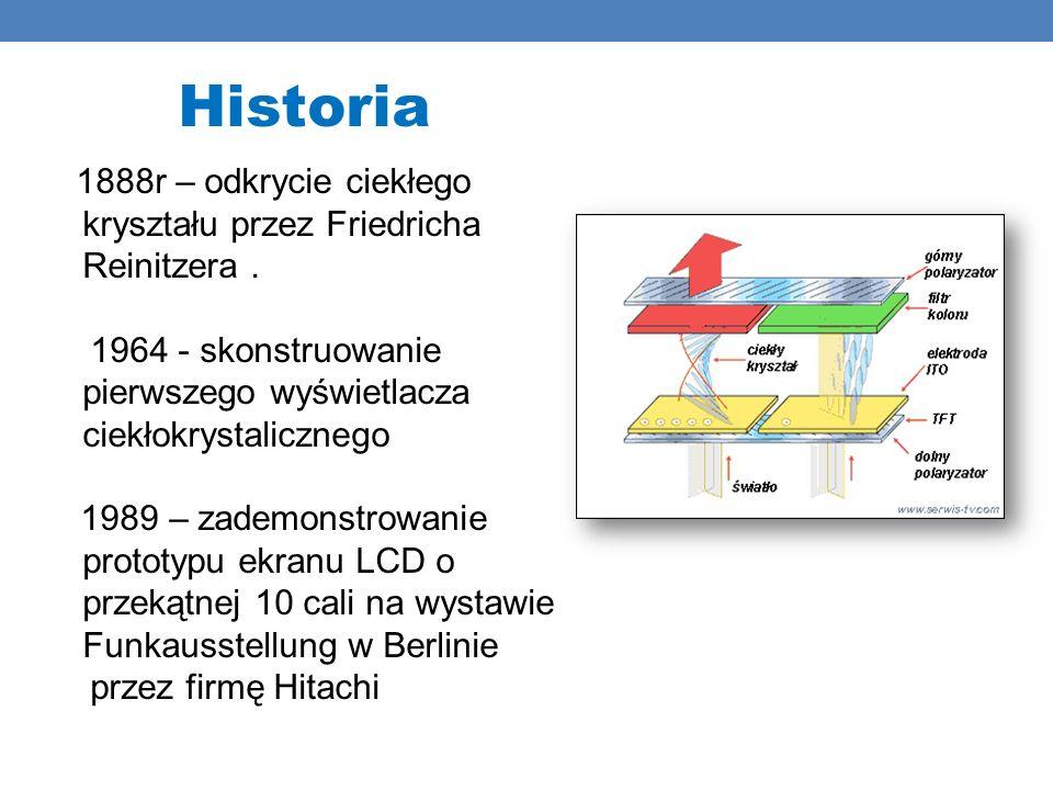 Historia 1888r – odkrycie ciekłego kryształu przez Friedricha Reinitzera. 1964 - skonstruowanie pierwszego wyświetlacza ciekłokrystalicznego 1989 – za