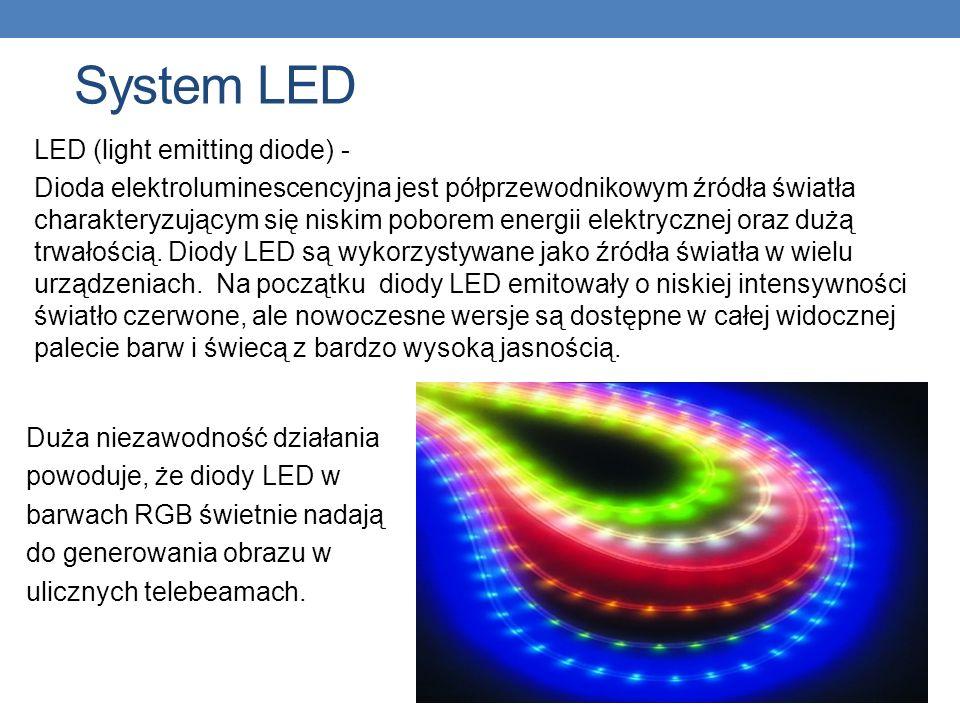 System LED LED (light emitting diode) - Dioda elektroluminescencyjna jest półprzewodnikowym źródła światła charakteryzującym się niskim poborem energi