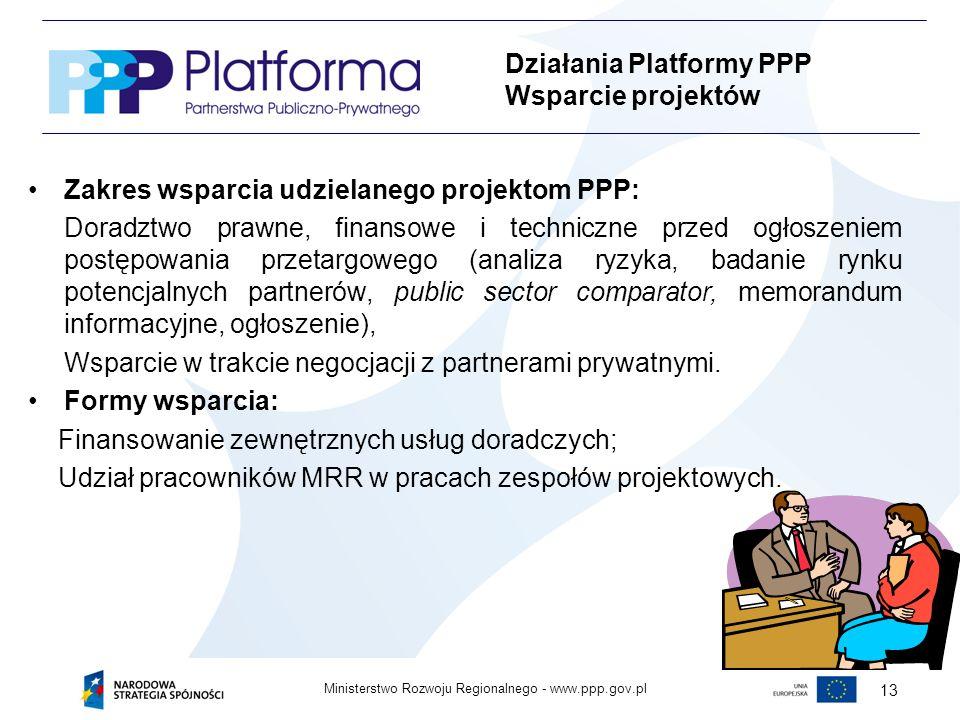 www.ppp.gov.plMinisterstwo Rozwoju Regionalnego - 13 Zakres wsparcia udzielanego projektom PPP: Doradztwo prawne, finansowe i techniczne przed ogłoszeniem postępowania przetargowego (analiza ryzyka, badanie rynku potencjalnych partnerów, public sector comparator, memorandum informacyjne, ogłoszenie), Wsparcie w trakcie negocjacji z partnerami prywatnymi.