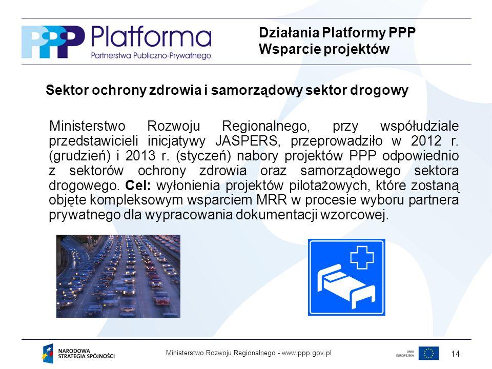 www.ppp.gov.plMinisterstwo Rozwoju Regionalnego - 14 Sektor ochrony zdrowia i samorządowy sektor drogowy Ministerstwo Rozwoju Regionalnego, przy współudziale przedstawicieli inicjatywy JASPERS, przeprowadziło w 2012 r.