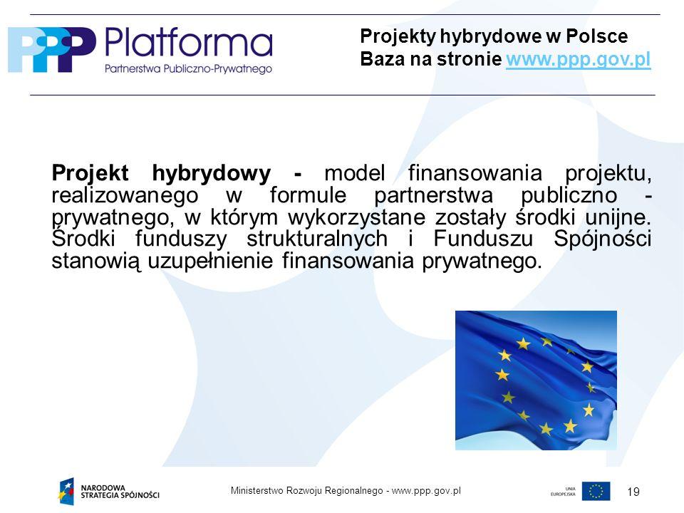 www.ppp.gov.plMinisterstwo Rozwoju Regionalnego - 19 Projekt hybrydowy - model finansowania projektu, realizowanego w formule partnerstwa publiczno - prywatnego, w którym wykorzystane zostały środki unijne.