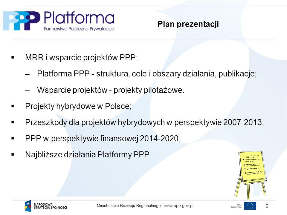 www.ppp.gov.plMinisterstwo Rozwoju Regionalnego - 2 Plan prezentacji MRR i wsparcie projektów PPP: –Platforma PPP - struktura, cele i obszary działania, publikacje; –Wsparcie projektów - projekty pilotażowe.