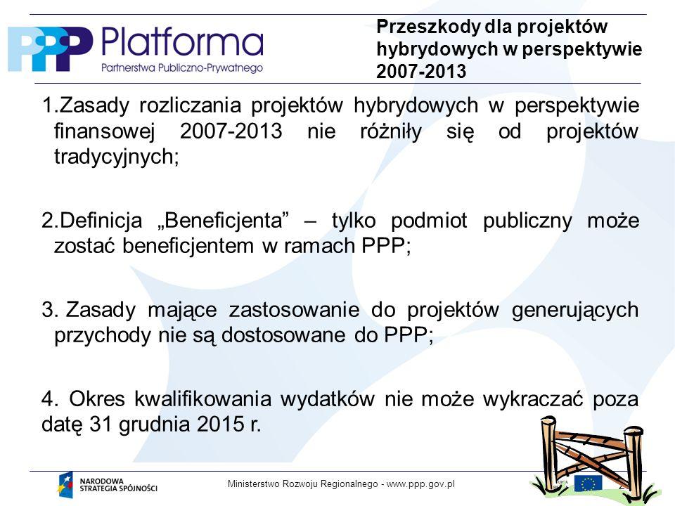 www.ppp.gov.plMinisterstwo Rozwoju Regionalnego - 27 Przeszkody dla projektów hybrydowych w perspektywie 2007-2013 1.Zasady rozliczania projektów hybrydowych w perspektywie finansowej 2007-2013 nie różniły się od projektów tradycyjnych; 2.Definicja Beneficjenta – tylko podmiot publiczny może zostać beneficjentem w ramach PPP; 3.