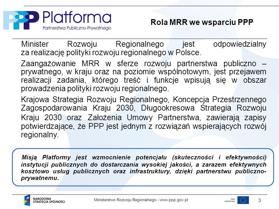 www.ppp.gov.plMinisterstwo Rozwoju Regionalnego - 3 Rola MRR we wsparciu PPP Minister Rozwoju Regionalnego jest odpowiedzialny za realizację polityki rozwoju regionalnego w Polsce.