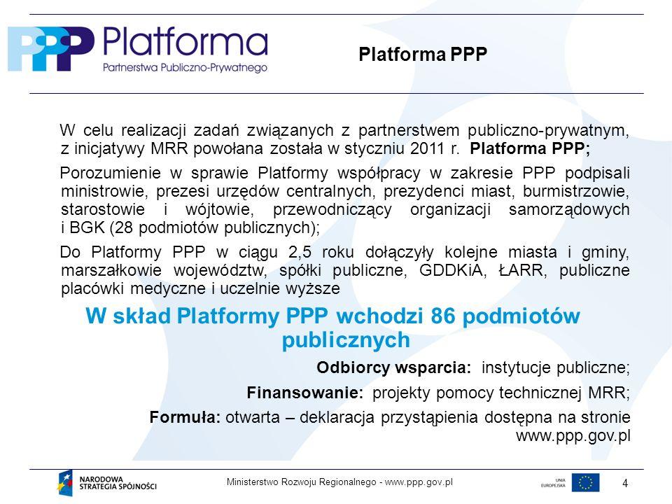www.ppp.gov.plMinisterstwo Rozwoju Regionalnego - 4 Platforma PPP W celu realizacji zadań związanych z partnerstwem publiczno-prywatnym, z inicjatywy MRR powołana została w styczniu 2011 r.