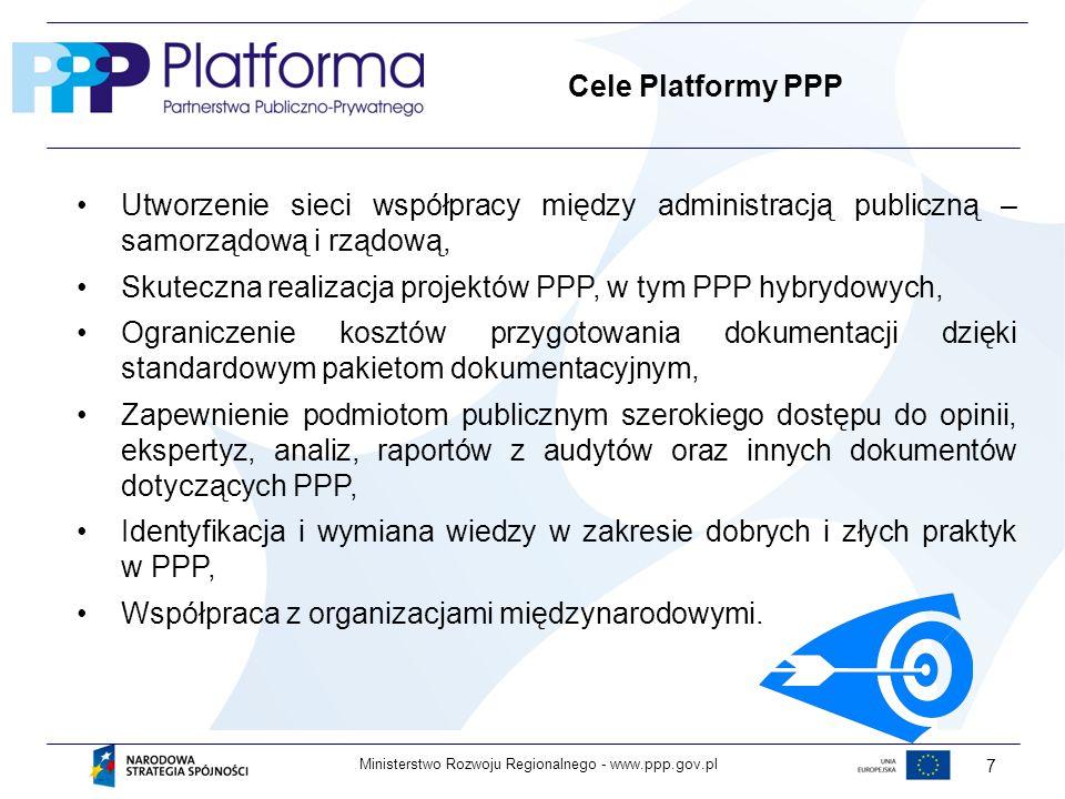 www.ppp.gov.plMinisterstwo Rozwoju Regionalnego - 7 Cele Platformy PPP Utworzenie sieci współpracy między administracją publiczną – samorządową i rządową, Skuteczna realizacja projektów PPP, w tym PPP hybrydowych, Ograniczenie kosztów przygotowania dokumentacji dzięki standardowym pakietom dokumentacyjnym, Zapewnienie podmiotom publicznym szerokiego dostępu do opinii, ekspertyz, analiz, raportów z audytów oraz innych dokumentów dotyczących PPP, Identyfikacja i wymiana wiedzy w zakresie dobrych i złych praktyk w PPP, Współpraca z organizacjami międzynarodowymi.