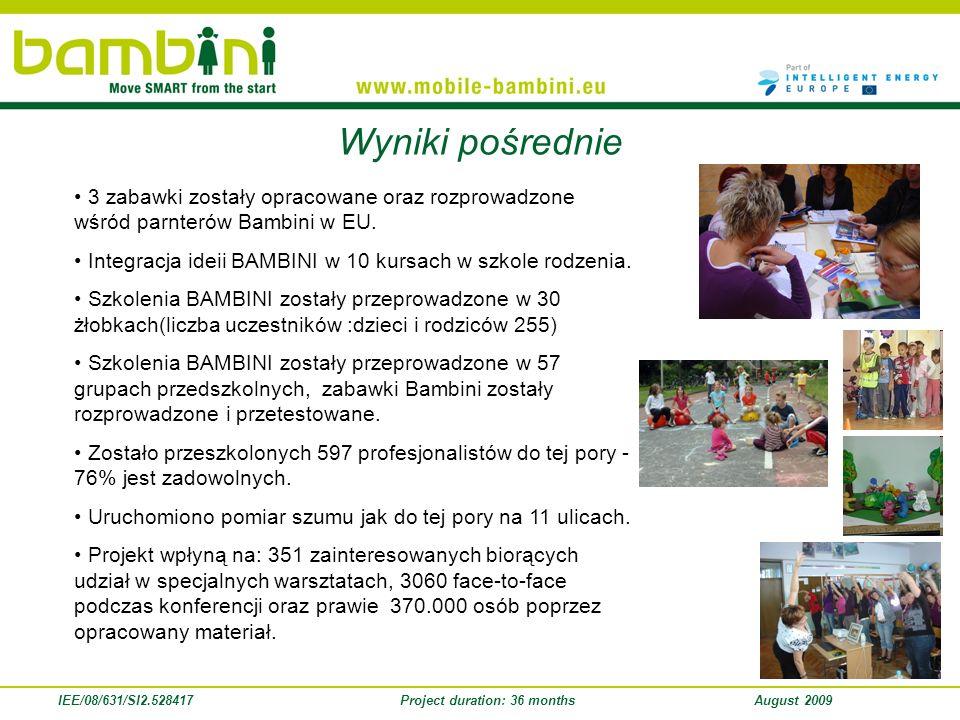 IEE/08/631/SI2.528417Project duration: 36 monthsAugust 2009 Wyniki pośrednie 3 zabawki zostały opracowane oraz rozprowadzone wśród parnterów Bambini w