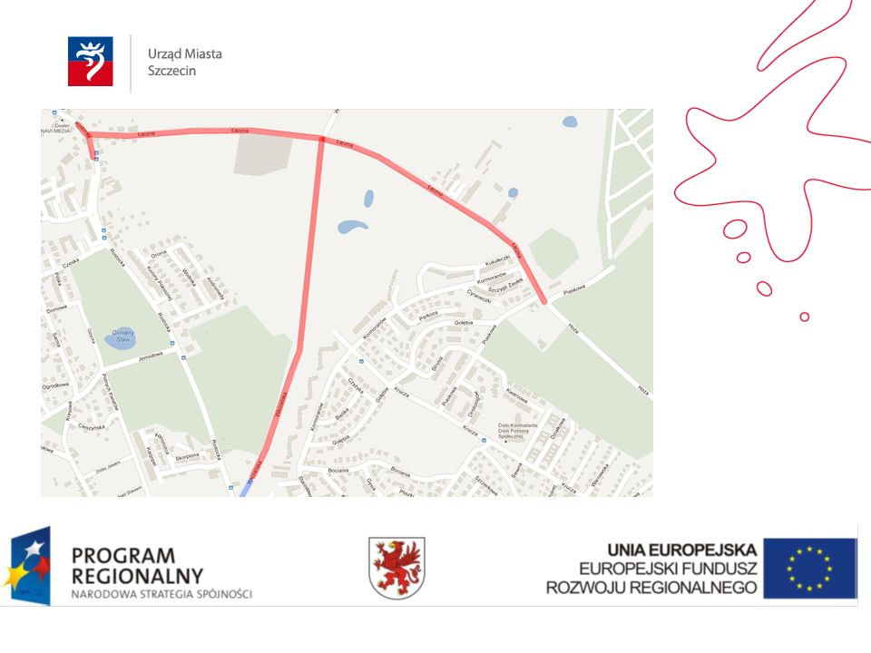 Okres realizacji inwestycji: kwiecień 2012 – październik 2014 Wartość inwestycji: ogółem: 52 400 000 PLN wartość dofinansowania w ramach RPO WZ: 27 941 900 PLN Opis inwestycji: Inwestycja obejmuje budowę ulicy Wkrzańskiej od ul.