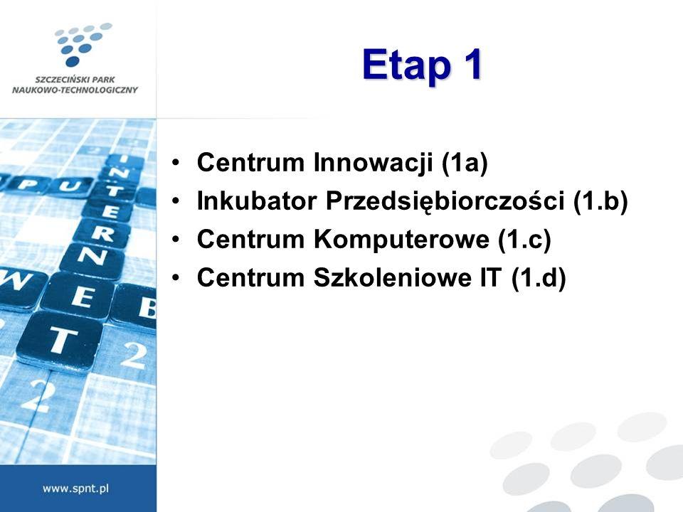 Etap 1 Centrum Innowacji (1a) Inkubator Przedsiębiorczości (1.b) Centrum Komputerowe (1.c) Centrum Szkoleniowe IT (1.d)
