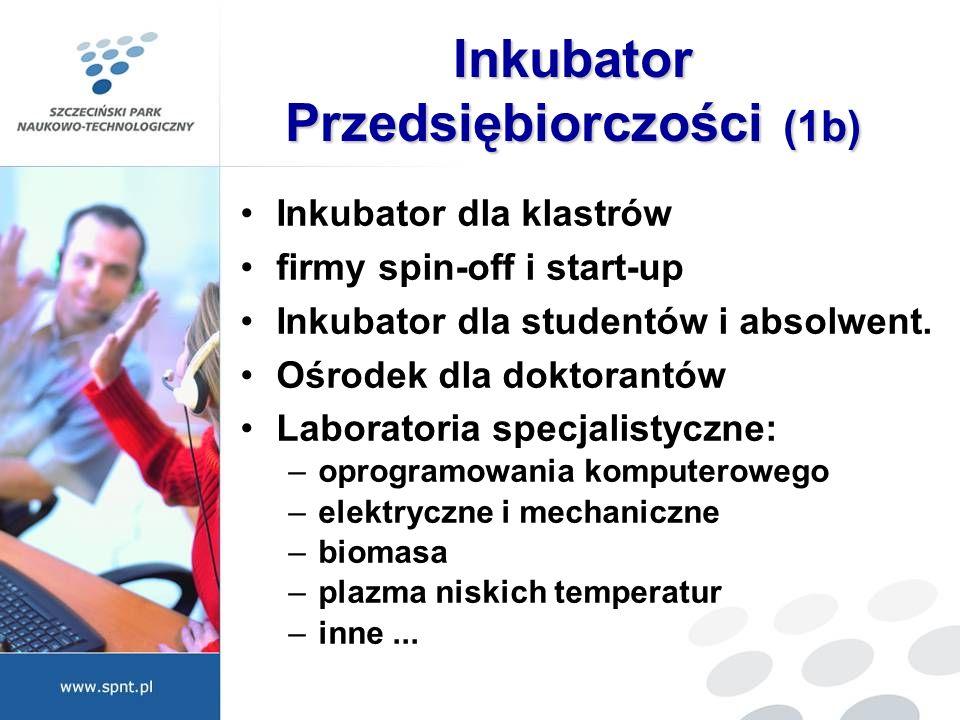 Inkubator Przedsiębiorczości (1b) Inkubator dla klastrów firmy spin-off i start-up Inkubator dla studentów i absolwent. Ośrodek dla doktorantów Labora