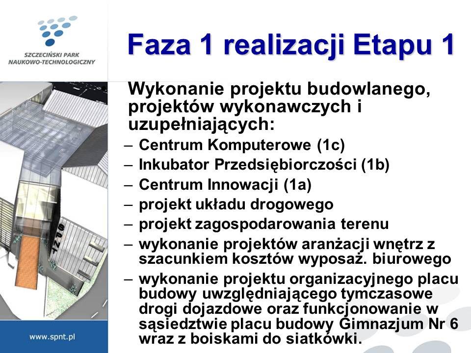 Faza 1 realizacji Etapu 1 Wykonanie projektu budowlanego, projektów wykonawczych i uzupełniających: –Centrum Komputerowe (1c) –Inkubator Przedsiębiorc