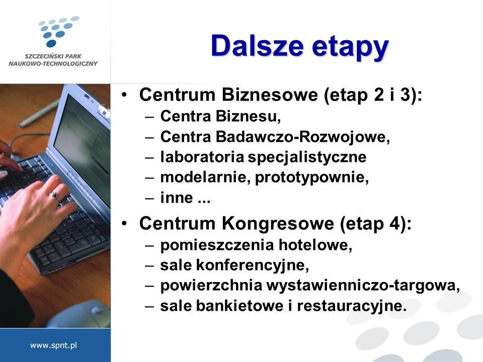 Dalsze etapy Centrum Biznesowe (etap 2 i 3): –Centra Biznesu, –Centra Badawczo-Rozwojowe, –laboratoria specjalistyczne –modelarnie, prototypownie, –in