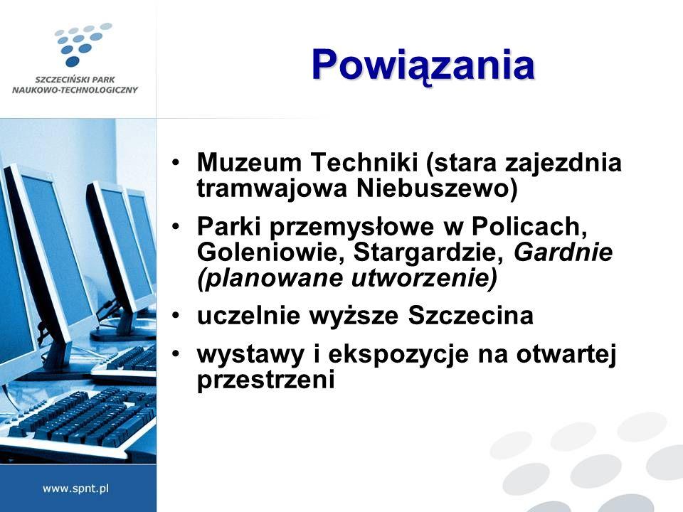 Powiązania Muzeum Techniki (stara zajezdnia tramwajowa Niebuszewo) Parki przemysłowe w Policach, Goleniowie, Stargardzie, Gardnie (planowane utworzeni