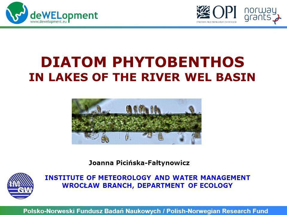 Polsko-Norweski Fundusz Badań Naukowych / Polish-Norwegian Research Fund TJ = (L i TJ i wTJ i )/(L i W i ) where: L i – relative abundance of i-taxon in a sample (among 300-500 diatom valves), TJ i – trophic value (optimum) of i-taxon wTJ i – weight value (tolerance) of i-taxon DIATOM TROPHIC INDEX FOR LAKES TJ