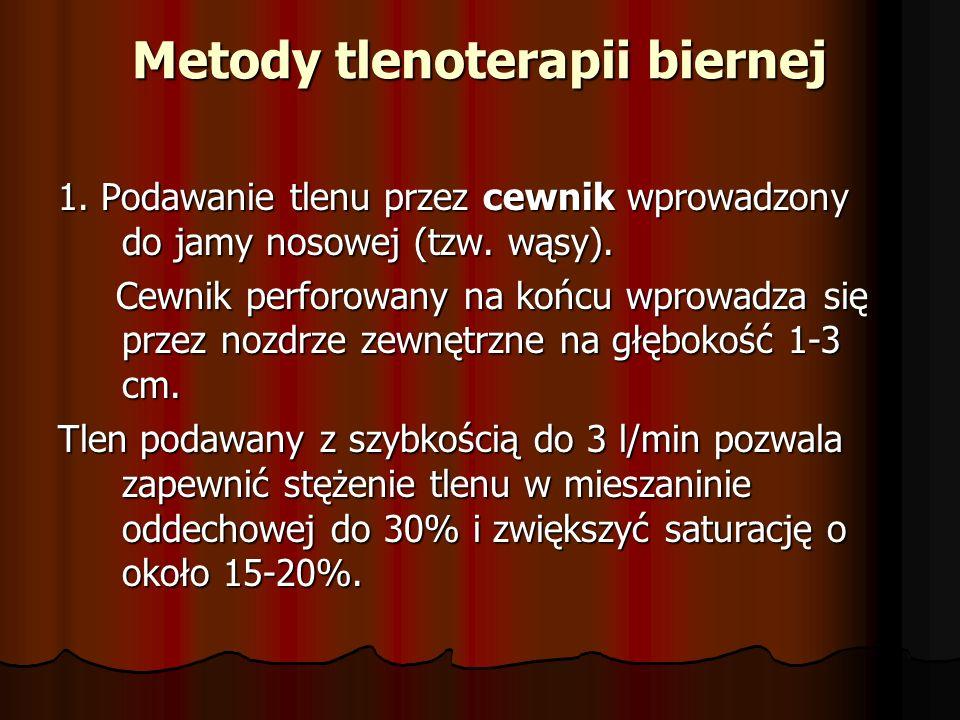 Metody tlenoterapii biernej 1. Podawanie tlenu przez cewnik wprowadzony do jamy nosowej (tzw. wąsy). Cewnik perforowany na końcu wprowadza się przez n