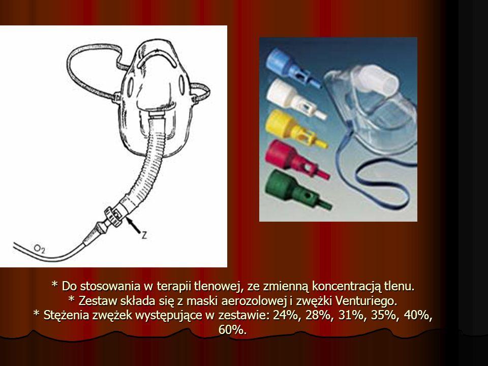 * Do stosowania w terapii tlenowej, ze zmienną koncentracją tlenu. * Zestaw składa się z maski aerozolowej i zwężki Venturiego. * Stężenia zwężek wyst