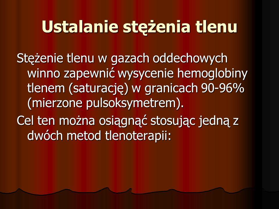 Ustalanie stężenia tlenu Stężenie tlenu w gazach oddechowych winno zapewnić wysycenie hemoglobiny tlenem (saturację) w granicach 90-96% (mierzone puls
