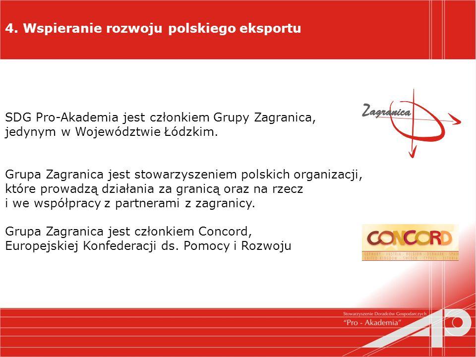 4. Wspieranie rozwoju polskiego eksportu SDG Pro-Akademia jest członkiem Grupy Zagranica, jedynym w Województwie Łódzkim. Grupa Zagranica jest stowarz