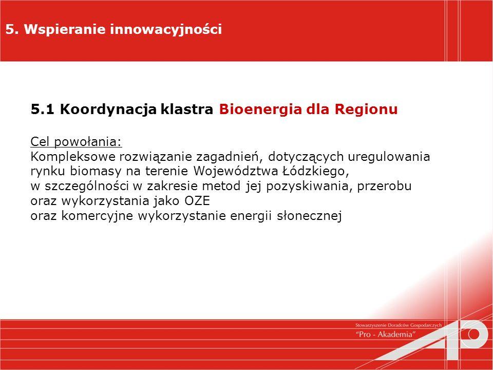 5. Wspieranie innowacyjności 5.1 Koordynacja klastra Bioenergia dla Regionu Cel powołania: Kompleksowe rozwiązanie zagadnień, dotyczących uregulowania