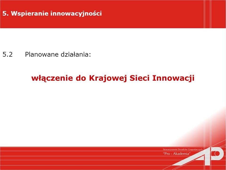5. Wspieranie innowacyjności 5.2 Planowane działania: włączenie do Krajowej Sieci Innowacji