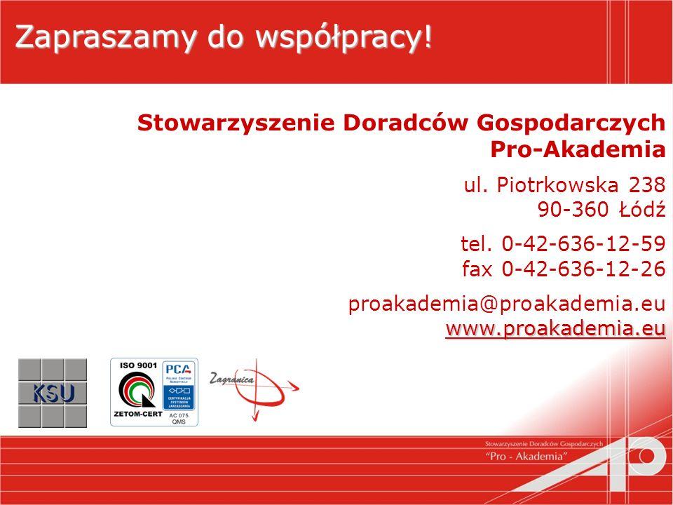 Zapraszamy do współpracy. Stowarzyszenie Doradców Gospodarczych Pro-Akademia ul.