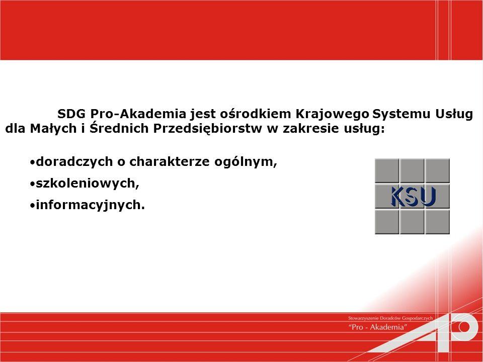 SDG Pro-Akademia jest ośrodkiem Krajowego Systemu Usług dla Małych i Średnich Przedsiębiorstw w zakresie usług: doradczych o charakterze ogólnym, szkoleniowych, informacyjnych.