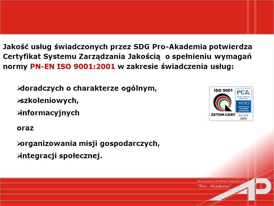 PN-EN ISO 9001:2001 Jakość usług świadczonych przez SDG Pro-Akademia potwierdza Certyfikat Systemu Zarządzania Jakością o spełnieniu wymagań normy PN-EN ISO 9001:2001 w zakresie świadczenia usług: doradczych o charakterze ogólnym, szkoleniowych, informacyjnych oraz organizowania misji gospodarczych, integracji społecznej.
