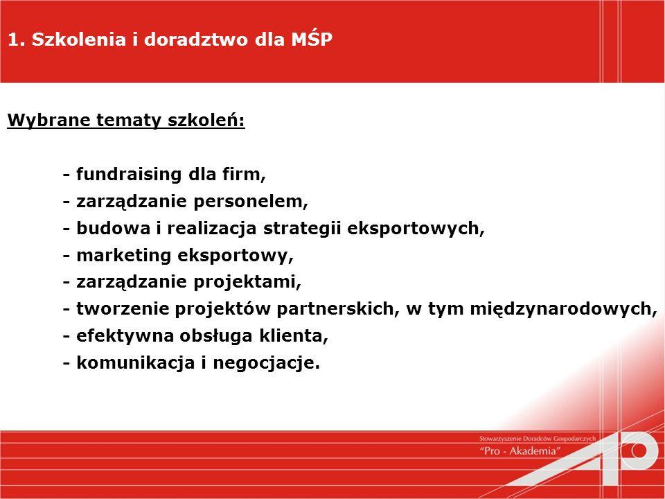 1. Szkolenia i doradztwo dla MŚP Wybrane tematy szkoleń: - fundraising dla firm, - zarządzanie personelem, - budowa i realizacja strategii eksportowyc