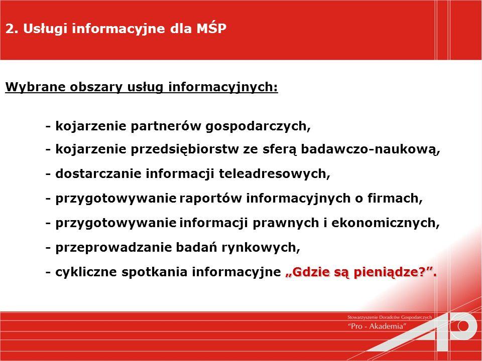 2. Usługi informacyjne dla MŚP Wybrane obszary usług informacyjnych: - kojarzenie partnerów gospodarczych, - kojarzenie przedsiębiorstw ze sferą badaw