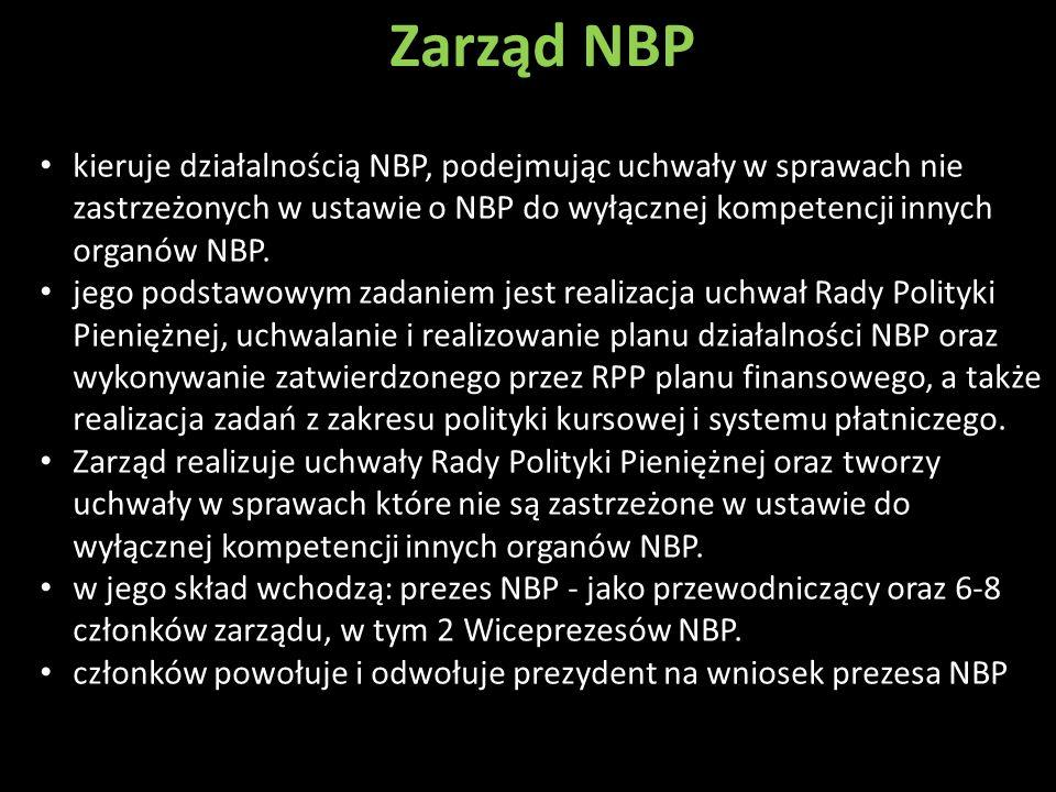 Zarząd NBP kieruje działalnością NBP, podejmując uchwały w sprawach nie zastrzeżonych w ustawie o NBP do wyłącznej kompetencji innych organów NBP. jeg