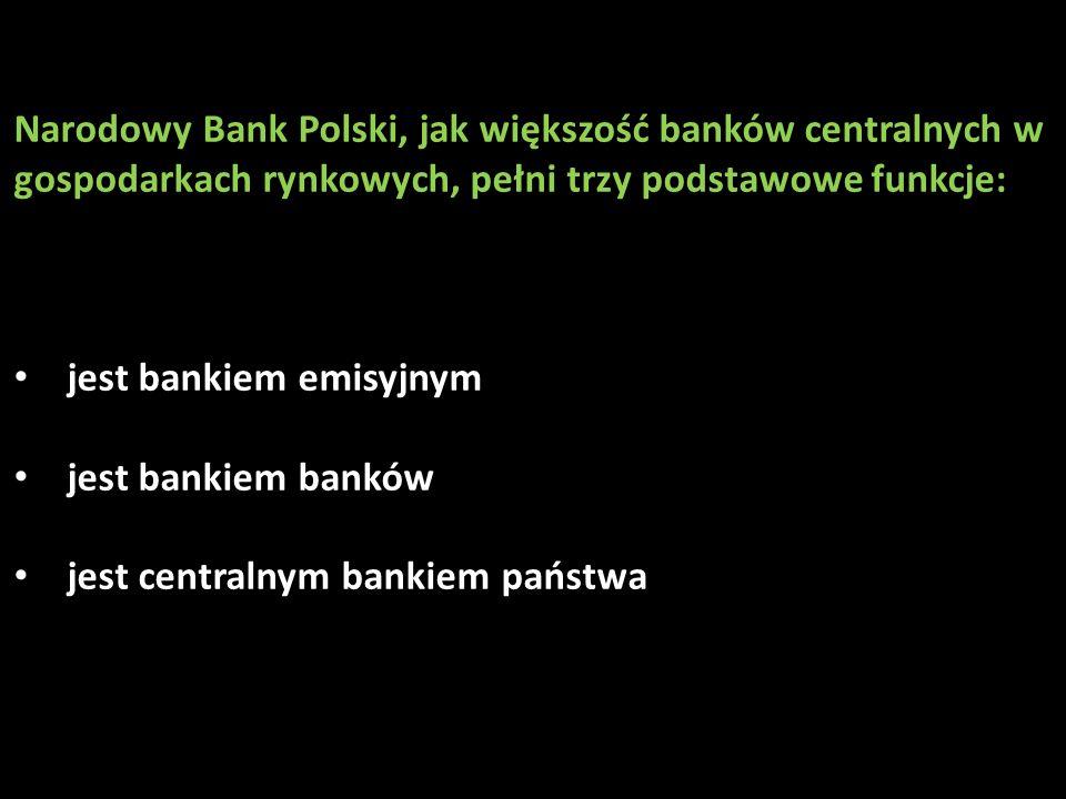 Narodowy Bank Polski, jak większość banków centralnych w gospodarkach rynkowych, pełni trzy podstawowe funkcje: jest bankiem emisyjnym jest bankiem ba