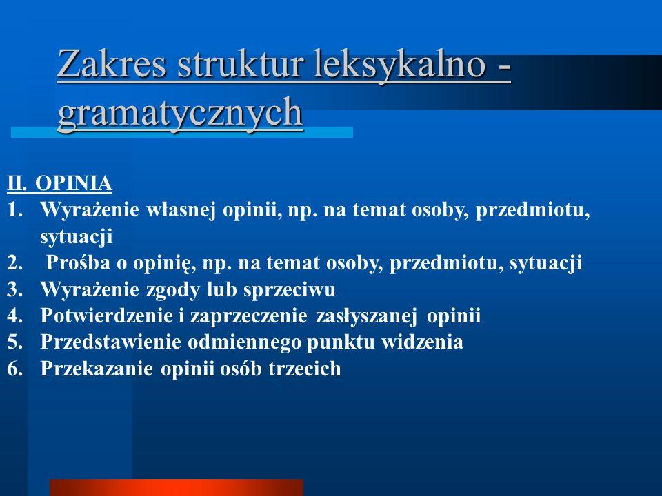 Zakres struktur leksykalno - gramatycznych II. OPINIA 1.Wyrażenie własnej opinii, np.