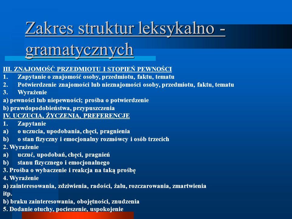 Zakres struktur leksykalno - gramatycznych III.