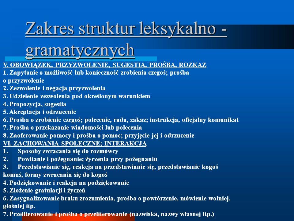 Zakres struktur leksykalno - gramatycznych V. OBOWIĄZEK, PRZYZWOLENIE, SUGESTIA, PROŚBA, ROZKAZ 1.