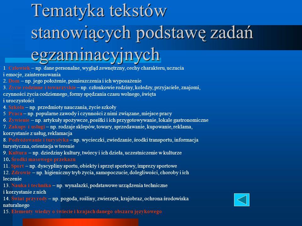 Tematyka tekstów stanowiących podstawę zadań egzaminacyjnych 1.