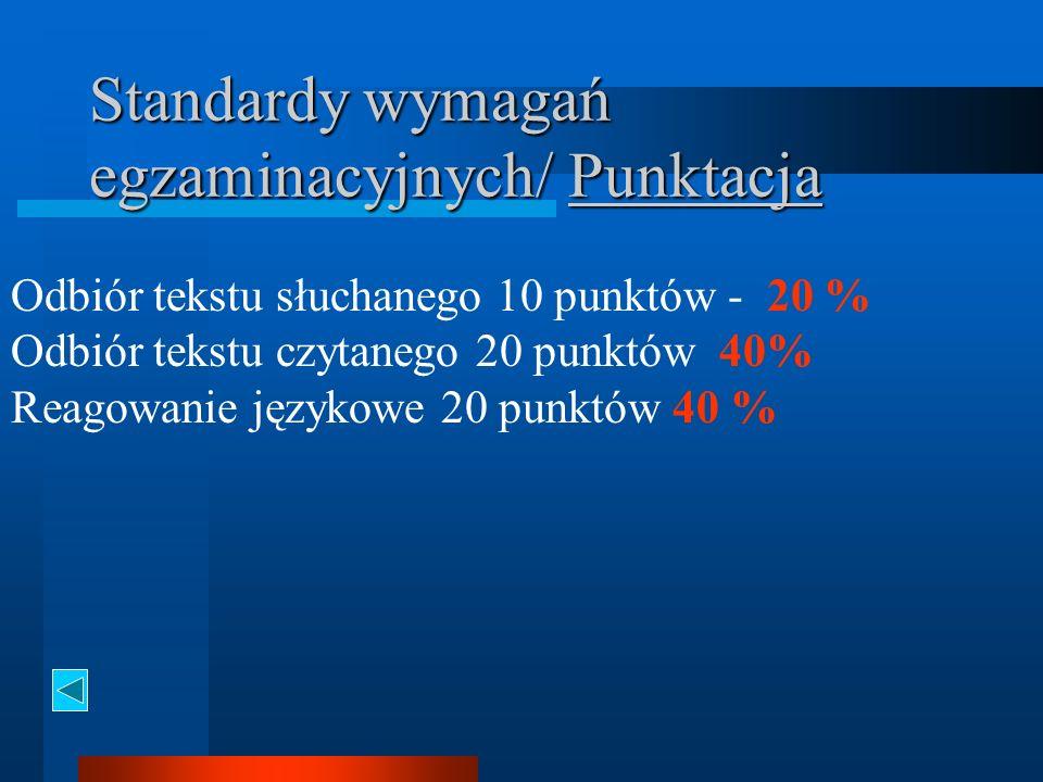 Standardy wymagań egzaminacyjnych/ Punktacja Odbiór tekstu słuchanego 10 punktów - 20 % Odbiór tekstu czytanego 20 punktów 40% Reagowanie językowe 20 punktów 40 %