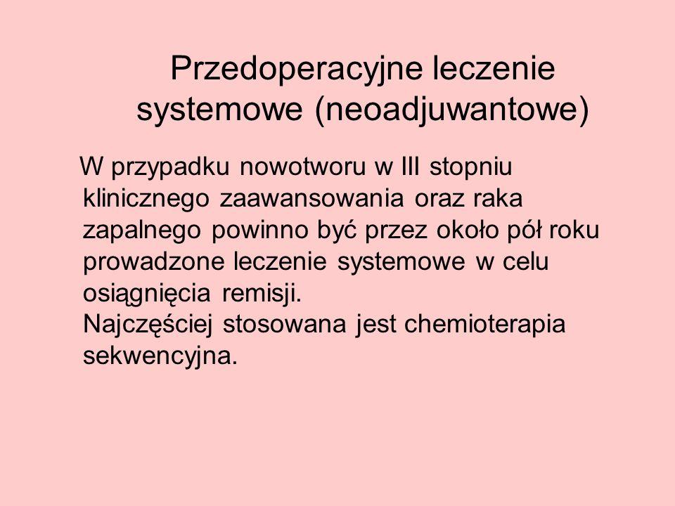 Przedoperacyjne leczenie systemowe (neoadjuwantowe) W przypadku nowotworu w III stopniu klinicznego zaawansowania oraz raka zapalnego powinno być prze