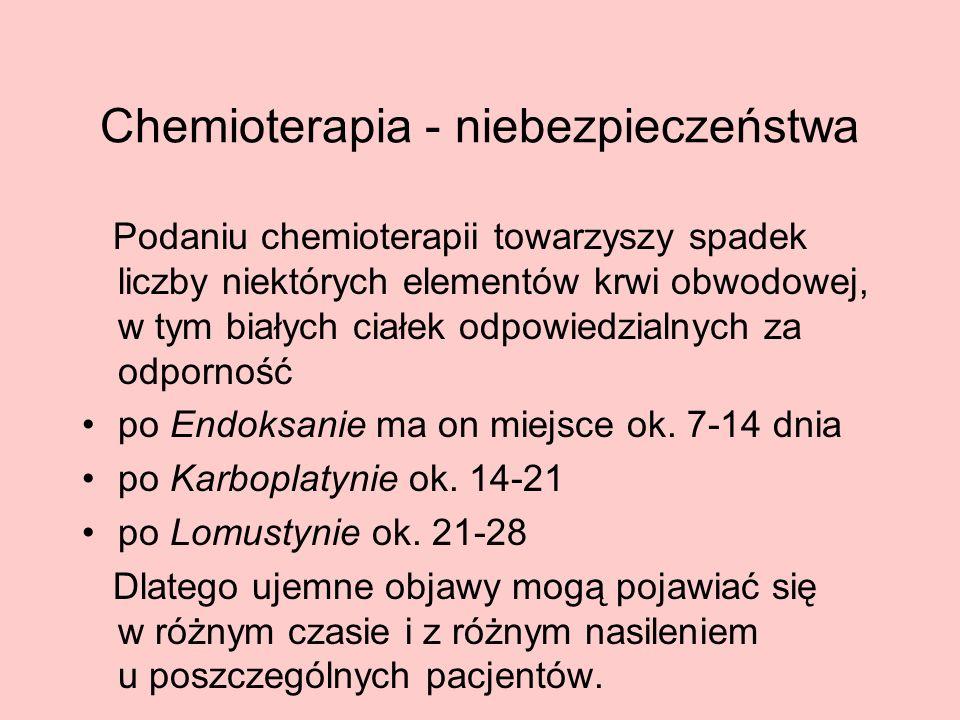 Chemioterapia - niebezpieczeństwa Podaniu chemioterapii towarzyszy spadek liczby niektórych elementów krwi obwodowej, w tym białych ciałek odpowiedzia