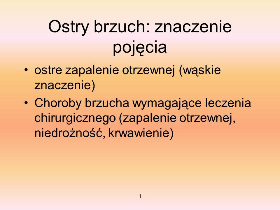 1 Ostry brzuch: znaczenie pojęcia ostre zapalenie otrzewnej (wąskie znaczenie) Choroby brzucha wymagające leczenia chirurgicznego (zapalenie otrzewnej
