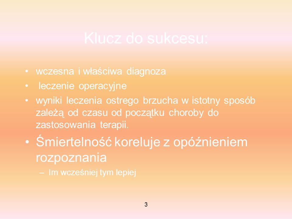 14 Obturacja a perforacja – różnice kliniczne Podstępny stosunkowo wolny rozwój objawów –Najpierw bóle trzewne –Potem somatyczne Objawy ogólnej toksemi częste Nagły, silny ból pchnięcie nożem –Bóle trzewne trwają bardzo krótko (niezauważalne) –Bóle somatyczny Objawy ogólnej toksemii nieczęsto – górny odcinek p.pok.